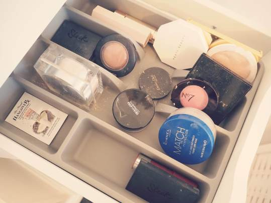 Swish My Swag ikea flat lay alex drawers makeup organisation