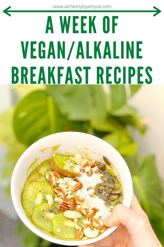 alchemy by amy uk vegan alkaline breakfast recipes ideas meals fruit oats smoothies chocolate coconut chocolate milkshake kiwi bowl
